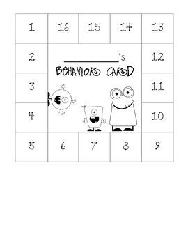 Monster Themed Behavior Card