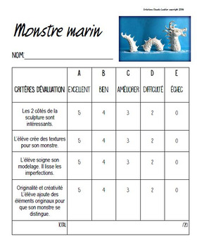 Monstre marin: Modelage, arts plastiques