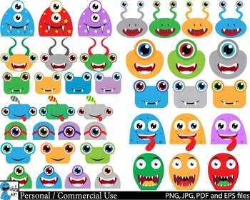 Monstres Heads Props v1 - Clip Art Digital Files Personal Commercial Use cod235
