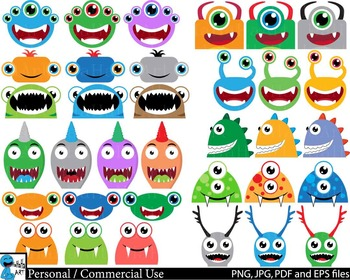 Monstres Heads Props v2 - Clip Art Digital Files Personal Commercial Use cod236
