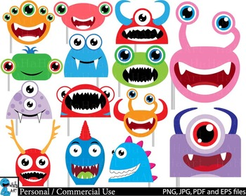 Monstres Heads Props v2 - Clip Art Digital Files Personal