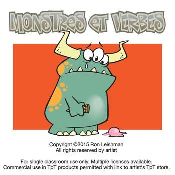 Monstres et Verbs Cartoon Clipart