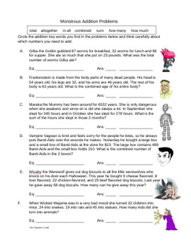 Monstrous Addition and Subtraction Word Problems Set
