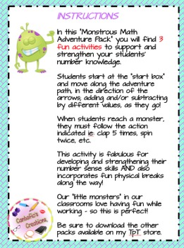 Monstrous Math Adventures PACK #3