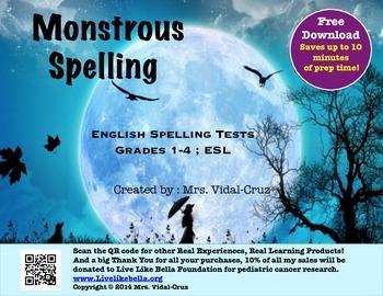Monstrous Spelling- English Spelling Tests Grades 1-4 & ESL