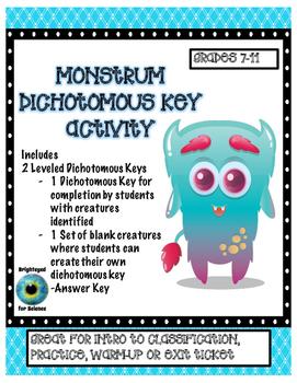 Monstrum Dichotomous Key Activity
