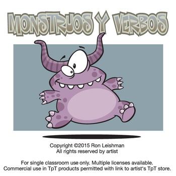 Monstruos y Verbos Cartoon Clipart