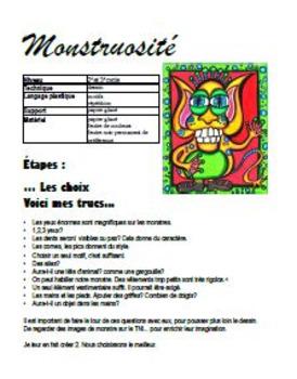 Halloween: Arts plastiques: Monstre, automne, plan de cours en français