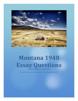 montana essay questions by the english teacher s pet tpt montana 1948 essay questions