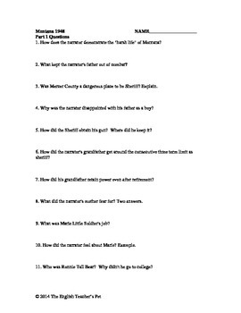 Montana 1948 Chapter Questions and Answer Key