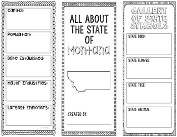 Montana - State Research Project - Interactive Notebook - Mini Book