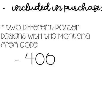 Montana Area Code Decor Posters Freebie