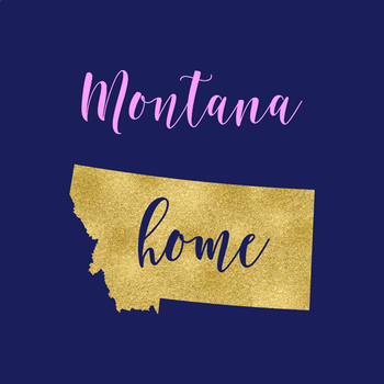 Montana Clipart, USA State Vector Clipart, Montana Home, Gold US Clipart