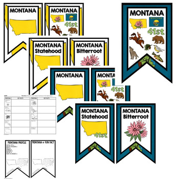 Montana History Word Wall, State Profile, Activity Pages