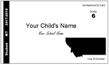 Montana (MT) Homeschool ID Cards for Teachers and Students