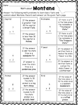 Math about Montana State Symbols through Multiplication Practice