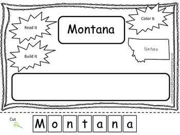 Montana Read it, Build it, Color it Learn the States preschool worksheet.