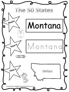 Montana Read it, Trace it, Color it Learn the States preschool worksheeet.