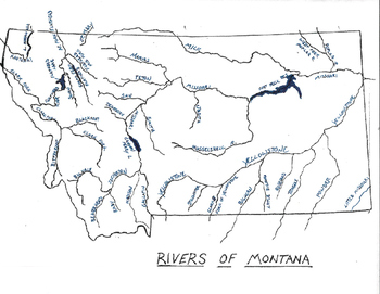 Montana Rivers Map with Names