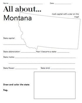 Montana State Facts Worksheet: Elementary Version