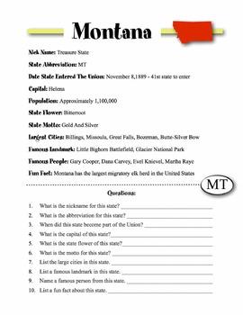 Montana State Information & Worksheet
