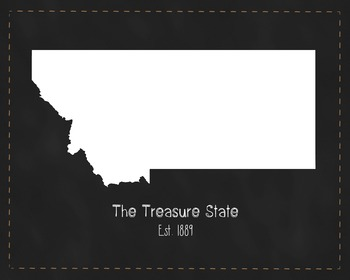 Montana State Map Class Decor, Government, Geography, Black and White Design
