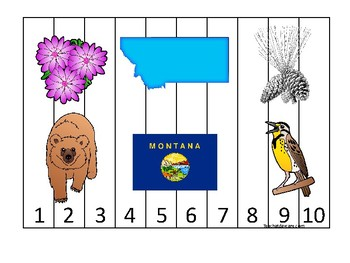 Montana State Symbols themed 1-10 Number Sequence Puzzle Game. Preschool
