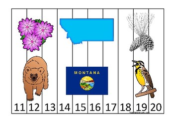 Montana State Symbols themed 11-20 Number Sequence Puzzle Game. Preschool