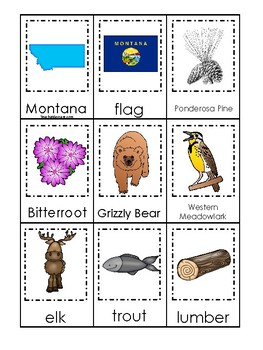 Montana State Symbols themed 3 Part Matching Game. Preschool Card Game.