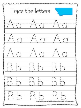Montana State Symbols themed A-Z Tracing Worksheets. Preschool Handwriting