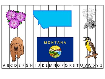 Montana State Symbols themed Alphabet Sequence Puzzle Game.  Preschool Game