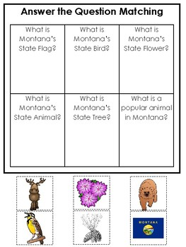 Montana State Symbols themed Answer the Question Game. Preschool Game