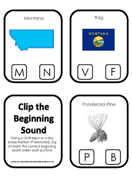 Montana State Symbols themed Beginning Sounds Clip It Game. Preschool Game