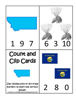 Montana State Symbols themed Count and Clip Game. Preschool Game