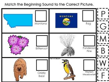 Montana State Symbols themed Match the Beginning Sound Game. Preschool Gam