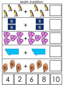 Montana State Symbols themed Math Addition Game. Preschool Game