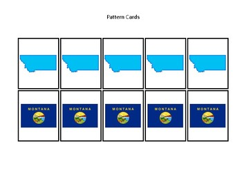 Montana State Symbols themed Pattern Cards and Game Board. Preschool Game