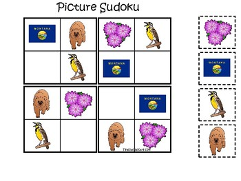 Montana State Symbols themed Picture Sudoku Game. Preschool Game