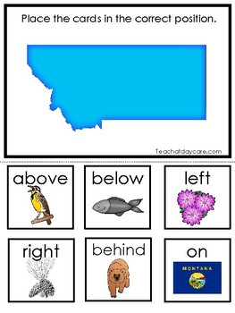 Montana State Symbols themed Positional Word Game. Preschool Game