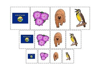 Montana State Symbols themed Size Sorting. Printable Preschool Game.