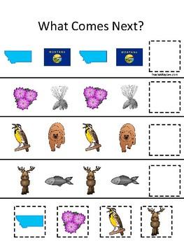 Montana State Symbols themed What Comes Next. Printable Preschool Game