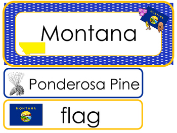 Montana State Word Wall Bulletin Board Set. Geography Curriculum.