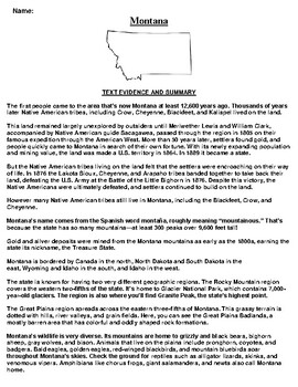 Montana Text Evidence and Summary Assignment