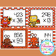 Monster Multiplication 3 by 2 Digit and 3 by 3 Digit Problems Task Cards