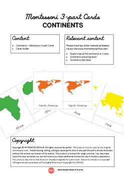 Continents of the World - Montessori Inspired Cards