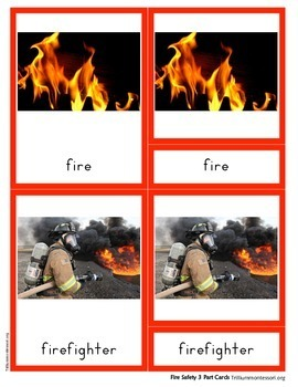 Montessori 3 Part Cards- Fire Safety