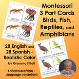Montessori 3 Part Cards - Birds, Fish, Amphibians, Reptiles - Spanish & English