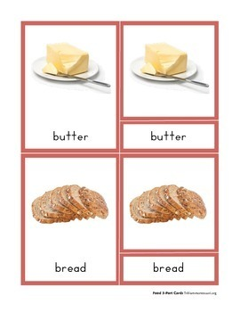 Montessori 3 Part Cards- Food