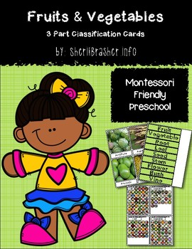 Montessori 3 Part Classification Cards: Fruits & Veggies - English Pack
