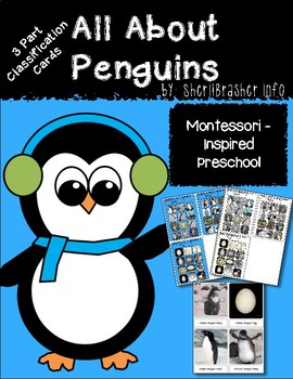Montessori 3 Part Cards: All About Penguins  English Presc